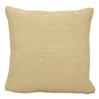 Mina Victory Leather Basket Weave Beige 20 x 20-inch Throw Pillow by Nourison