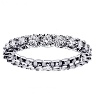 14k/ 18k 2 1/10 - 2.45ct TDW White Gold Round Diamond Eternity Wedding Band