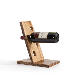 Danya B Four Bottle Floating Wine Holder with Bark