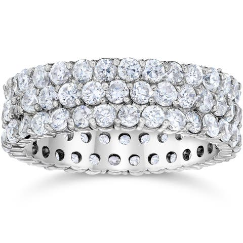 14k White Gold 3 1/2ct TDW Eco-friendly Lab Grown Diamond Wedding Ring