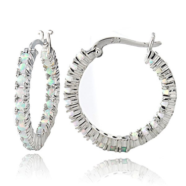 Glitzy Rocks Sterling Silver Created Opal Inside Out Hoop Earrings