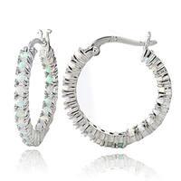 Glitzy Rocks Sterling Silver Created Opal Inside Out Hoop Earrings