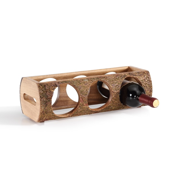 Carbon Loft Simon Stackable Three Bottle Wine Holder Log - Acacia Wood with Bark