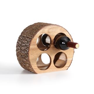 Danya B Round Four Bottle Wine Holder - Acacia Wood with Bark