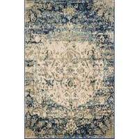 """Traditional Blue/ Ivory Medallion Distressed Rug - 2'7"""" x 4'"""