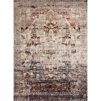 "Traditional Slate/ Multi Medallion Distressed Rug - 2'7"" x 4'"