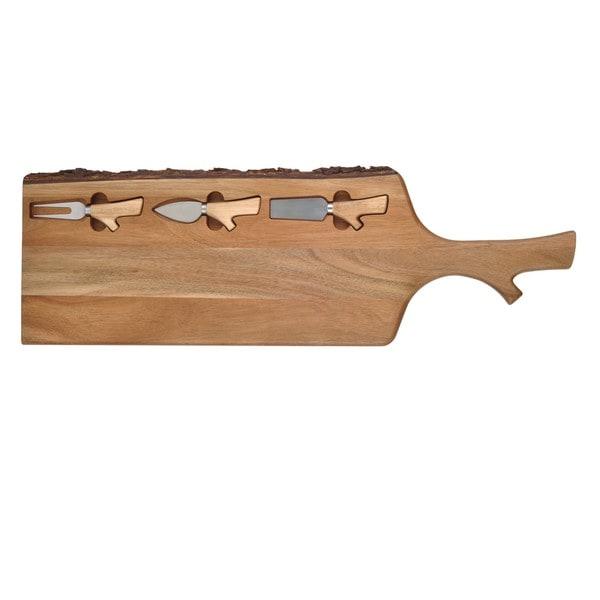 Danya B. Cheese Tray with 3 Utensils - Acacia Wood with Bark