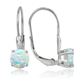 Glitzy Rocks Sterling Silver Created Opal 6mm Round Leverback Earrings