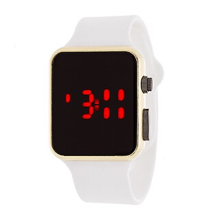 Zunammy Men's Sport Digital with White Rubber Strap Watch - White/Gold