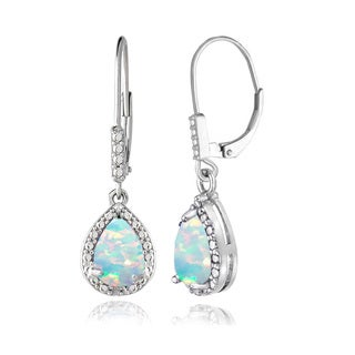 Glitzy Rocks Sterling Silver Created Opal and Diamond Accent Teardrop Leverback Earrings