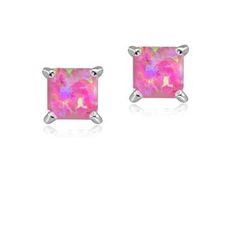 Glitzy Rocks Sterling Silver 5mm Square Created Opal Stud Earrings