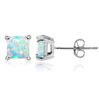 Glitzy Rocks Sterling Silver 5mm Square Created Opal Stud Earrings