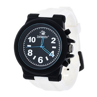 Zunammy Men's Black Case and Dial / White Rubber Strap Watch