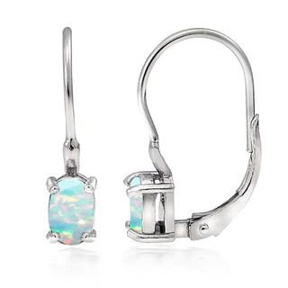 Glitzy Rocks Sterling Silver Created Opal Oval Leverback Earrings
