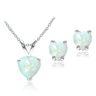 Glitzy Rocks Sterling Silver Created Opal Heart Solitaire Pendant and Stud Earrings Set