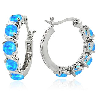 Glitzy Rocks Sterling Silver Created Opal S Design Hoop Earrings