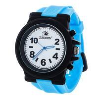 Zunammy Men's Black Case and White Dial / Blue Rubber Strap Watch