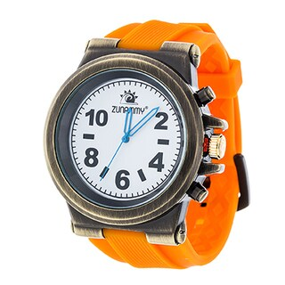 Zunammy Men's Gold Case and White Dial / Orange Rubber Strap Watch