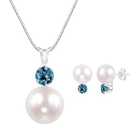 Sterling Silver White Freshwater Cultured Round Button Pearl and Round Swiss Blue Topaz Pendant and Earring Set