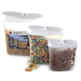 plastic food storage container cereal dispenser set 3 piece