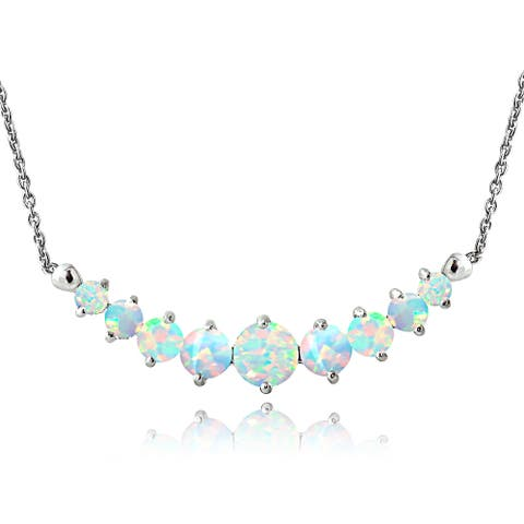 Glitzy Rocks Sterling Silver Created Opal and Diamond Accent Frontal Journey Necklace
