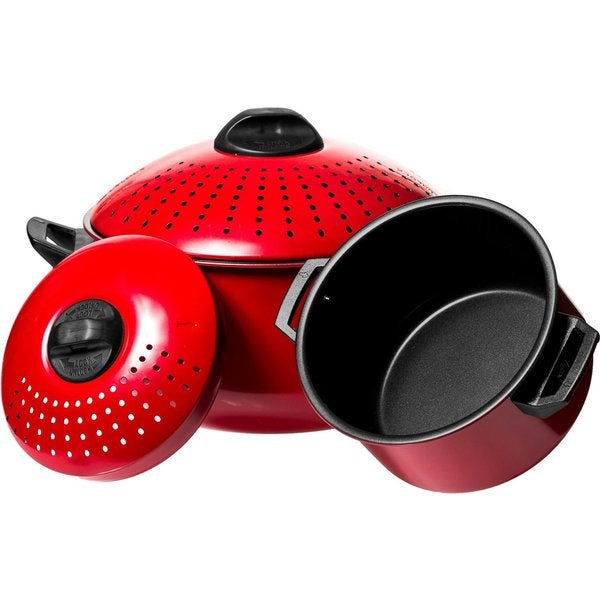 Shop quality red pasta pot with strainer lid piece set