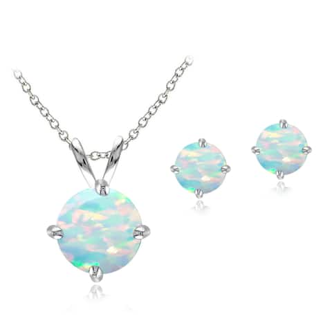 Glitzy Rocks Sterling Silver Created Opal Solitaire Necklace and Stud Earring Set