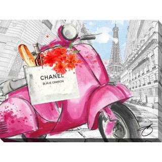 BY Jodi 'Scoot Around Paris in Pink 3' Giclee Print Canvas Wall Art