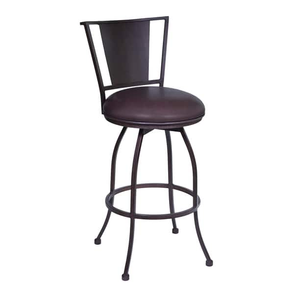 Armen Living Dynasty 30 Bar Height Barstool In Auburn Bay Finish With Brown Faux Leather Overstock 11663957 Grey Faux Leather Fabric Swivel