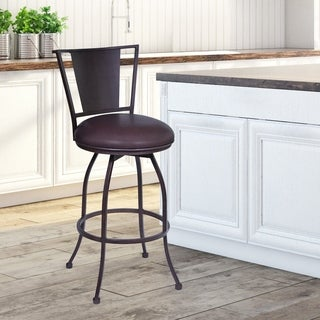 """Armen Living Dynasty 30"""" Bar Height Barstool in Auburn Bay Finish with Brown Faux Leather"""