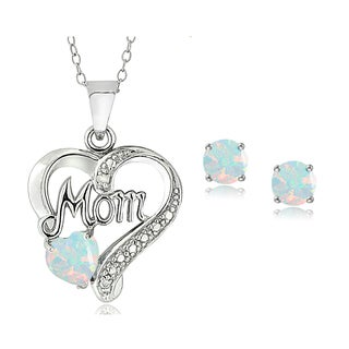 Sterling Silver Created Opal & Diamond Accent Heart MOM Necklace and Earrings Set