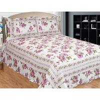 Peony Bloom Floral 3-piece Quilt Set