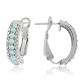 Glitzy Rocks Sterling Silver Created Opal and Diamond Half Hoop Earrings
