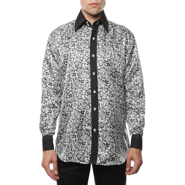 Ferrecci Men's Satine Geometric and Paisley Dress Shirt. Opens flyout.