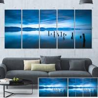 Designart 'Blue Lake with Wooden Pier' Landscape Photo Canvas Print - Blue