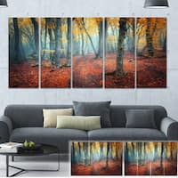 Designart 'Red and Yellow Autumn Forest' Landscape Photo Canvas Print - Red