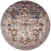 "Traditional Slate/ Multi Medallion Distressed Round Rug - 5'3"" x 5'3"""