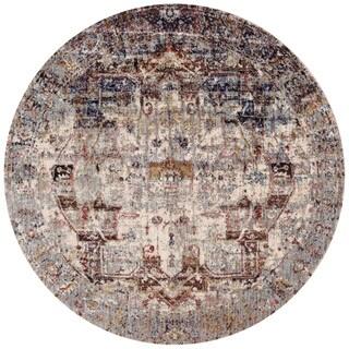 Traditional Slate/ Multi Medallion Distressed Round Rug - 5'3 x 5'3