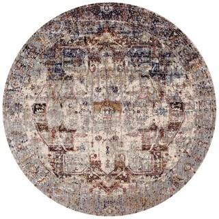 Traditional Slate/ Multi Medallion Distressed Round Rug - 9'6 x 9'6