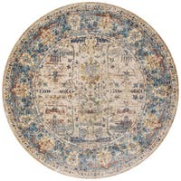 Traditional Sand/ Light Blue Floral Distressed Round Rug - 9'6 x 9'6