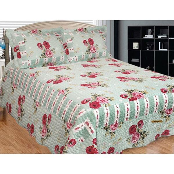 Russelliana Rest Floral Mint Green 3-piece Quilt Set