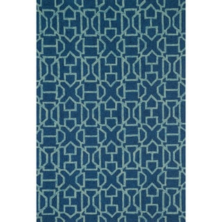 Hand-hooked Indoor/ Outdoor Capri Navy/ Aqua Rug (7'6 x 9'6)