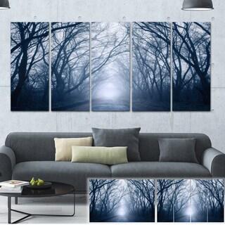 Designart 'Path in Dark Autumn Forest' Landscape Photo Canvas Print