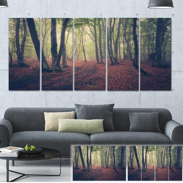Designart 'Green Trees in Autumn Forest' Landscape Photo Canvas Print