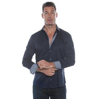 Isaac B. Blue Long Sleeve Check Cuffs Button Down Shirt