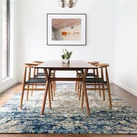 Traditional Blue/ Ivory Medallion Distressed Rug - 9'6 x 13'