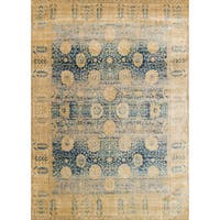 Traditional Blue/ Gold Floral Distressed Rug - 12' x 15'