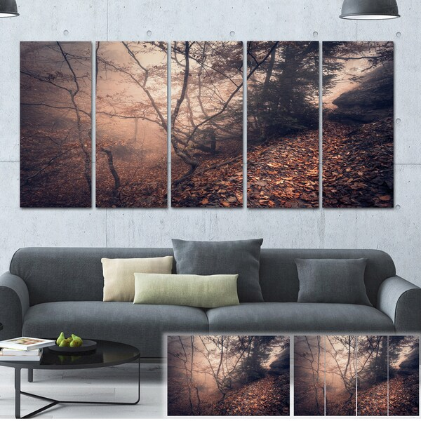 Designart 'Vintage Style Leaves and Trees' Landscape Photo Canvas Print
