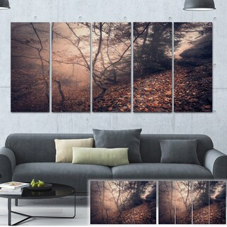 Designart 'Vintage Style Leaves and Trees' Landscape Photo Canvas Print - YELLOW