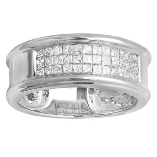 14k White Gold Men's 1ct TDW Princess-cut Diamond Invisible Band Ring (H-I, I1-I2)